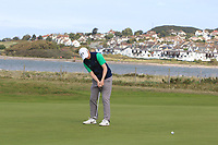 Ronan Mullarney from Ireland on the 3rd green during Round 2 Singles of the Men's Home Internationals 2018 at Conwy Golf Club, Conwy, Wales on Thursday 13th September 2018.<br /> Picture: Thos Caffrey / Golffile<br /> <br /> All photo usage must carry mandatory copyright credit (&copy; Golffile | Thos Caffrey)