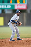 Rice Owls shortstop Leon Byrd (1) on defense against the Charlotte 49ers at Hayes Stadium on March 6, 2015 in Charlotte, North Carolina.  The Owls defeated the 49ers 4-2.  (Brian Westerholt/Four Seam Images)