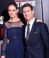 "Katie Holmes and Tom Cruise at The U.S. Premiere of ""Mission Impossible-Ghost Protocol"" held at the Ziegfeld Theater. December 19, 2011. © mpi17/MediaPunch Inc."