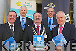 On Monday morning in the Imperial Hotel, Tralee the Tralee Chamber held an early morning business breakfast for business people of tralee with Eirgrid 25. Front l-r: Andrew Cooke (dir grid development), Seamus O'Donovan (president Tralee Chamber) and Jimmy Denihan TD. Back l-r: Billy Nolan and Aidan Corcoran (manager grid implementation)..