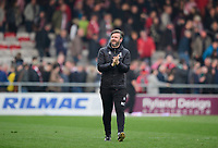 Lincoln City's assistant manager Nicky Cowley applauds the fans at the final whistle<br /> <br /> Photographer Chris Vaughan/CameraSport<br /> <br /> The EFL Sky Bet League Two - Lincoln City v Macclesfield Town - Saturday 30th March 2019 - Sincil Bank - Lincoln<br /> <br /> World Copyright © 2019 CameraSport. All rights reserved. 43 Linden Ave. Countesthorpe. Leicester. England. LE8 5PG - Tel: +44 (0) 116 277 4147 - admin@camerasport.com - www.camerasport.com