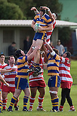 A. Van der Heijden claims lineout ball with help from C. Mooney & V. Fihaka. Counties Manukau Rugby Union Premier round 7  game between Patumahoe & Karaka played at Patumahoe on May 26th 2007. Karaka led 5 - 3 at halftime and went on to win 12 - 3.