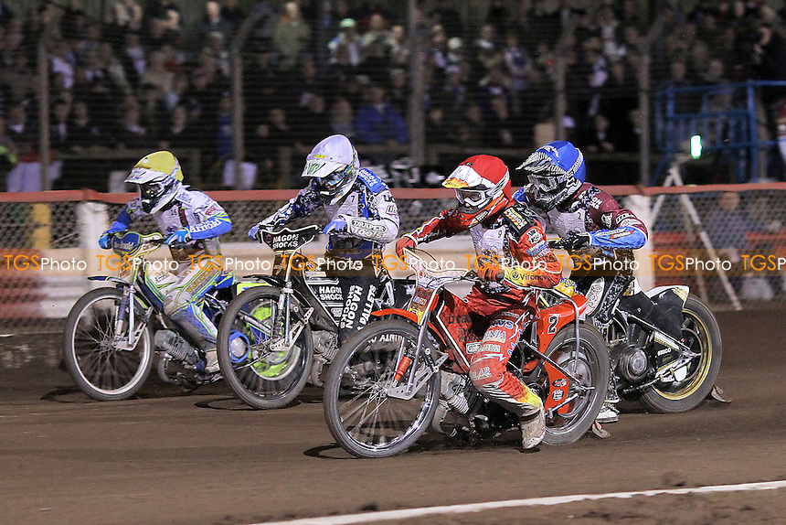 Heat 18: Andreas Jonsson (red), Scott Nicholls (blue), Darcy Ward (white) and Justin Sedgmen (yellow) - Lee Richardson Memorial Speedway Meeting at Arena Essex Raceway, Purfleet - 28/09/12 - MANDATORY CREDIT: Gavin Ellis/TGSPHOTO - Self billing applies where appropriate - 0845 094 6026 - contact@tgsphoto.co.uk - NO UNPAID USE.