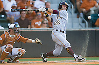 Arizona State Sun Devil outfielder Andrew Alpin #22 fouls a ball off against the Texas Longhorns in NCAA Tournament Super Regional baseball on June 10, 2011 at Disch Falk Field in Austin, Texas. (Photo by Andrew Woolley / Four Seam Images)