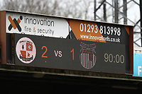 Final score during Crawley Town vs Grimsby Town, Sky Bet EFL League 2 Football at Broadfield Stadium on 9th March 2019