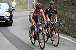 Giacomo Berlato (ITA) Nippo-Vini Fantini and Cesare Benedetti (ITA) Bora-Argon 18 tackle the final climb of Superga near the finish of the 2015 96th Milan-Turin 186km race starting at San Giuliano Milanese, Italy. 1st October 2015.<br /> Picture: Eoin Clarke | Newsfile