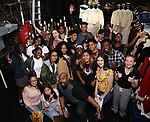 """James Monroe Iglehart with student performers backstage before The Rockefeller Foundation and The Gilder Lehrman Institute of American History sponsored High School student #EduHam matinee performance of """"Hamilton"""" at the Richard Rodgers Theatre on October 25, 2017 in New York City."""