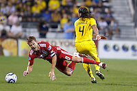 3 JULY 2010:  Brian McBride of Chicago Fire (20) and Gino Padula of the Columbus Crew (4) during MLS soccer game between Chicago Fire vs Columbus Crew at Crew Stadium in Columbus, Ohio on July 3, 2010.