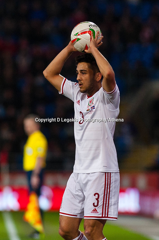 Wednesday 05 March 2014<br /> Pictured: Neil Taylor of Wales  throws the ball in <br /> Re: International friendly Wales v Iceland at the Cardiff City Stadium, Cardiff,Wales UK
