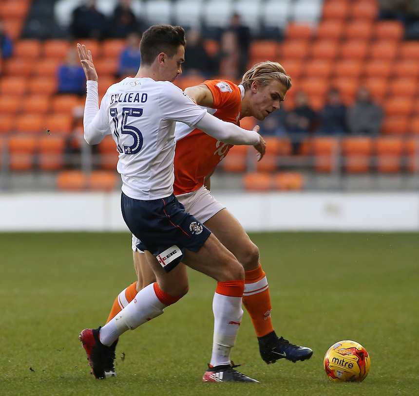 Blackpool's Brad Potts battles with Luton Town's Alex Gilliead<br /> <br /> Photographer David Shipman/CameraSport<br /> <br /> The EFL Sky Bet League Two - Blackpool v Luton Town - Saturday 17th December 2016 - Bloomfield Road - Blackpool<br /> <br /> World Copyright &copy; 2016 CameraSport. All rights reserved. 43 Linden Ave. Countesthorpe. Leicester. England. LE8 5PG - Tel: +44 (0) 116 277 4147 - admin@camerasport.com - www.camerasport.com