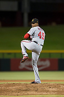 Salt River Rafters starting pitcher Luis Reyes (49), of the Washington Nationals organization, delivers a pitch during an Arizona Fall League game against the Mesa Solar Sox at Sloan Park on October 16, 2018 in Mesa, Arizona. Salt River defeated Mesa 2-1. (Zachary Lucy/Four Seam Images)