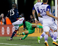 Foxborough, Massachusetts - September 2, 2017: First half action. In a Major League Soccer (MLS) match, New England Revolution (blue/white) vs Orlando City (white), at Gillette Stadium.Kei Kamara 100th goal.