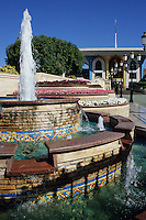 Muscat, Oman.  Fountain and gardens of the Sultan's palace, Al-Alam.