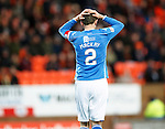 Dundee United v St Johnstone....21.11.15  SPFL,  Tannadice, Dundee<br /> Dave Mackay holds his head after his free kick hits the post<br /> Picture by Graeme Hart.<br /> Copyright Perthshire Picture Agency<br /> Tel: 01738 623350  Mobile: 07990 594431