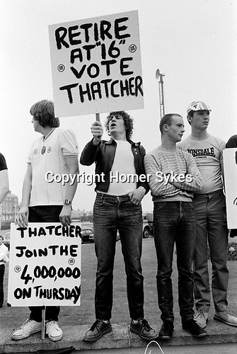 General Election 1983 Uk Thatcher unemployment demonstration about job prospectives for school leavers 1980s<br /> <br /> My ref 7/4501/, 1983,