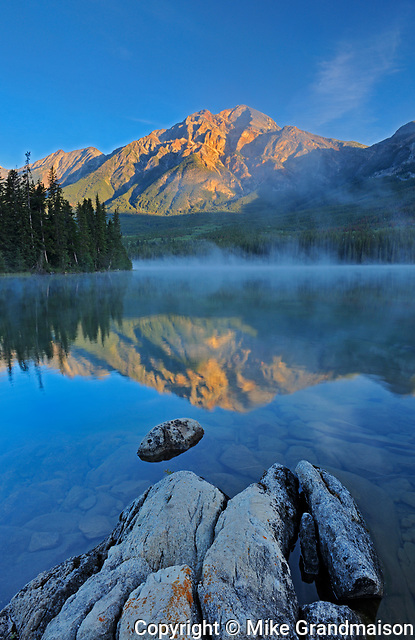 Pyramid Mountain reflected in Pyramid Lake at sunrise, Jasper National Park, Alberta, Canada