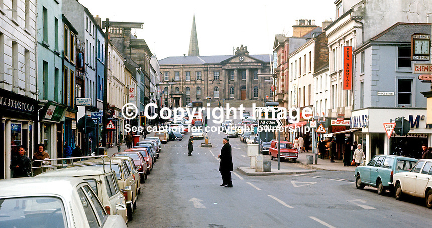 High Street, Omagh, Co Tyrone, N Ireland, UK, looking towards the Courthouse, March 1972. 197203000124a<br />