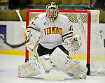 30 October 2010: University of Vermont Catamount goaltender Alex Vazzano, a Freshman from  Trumbull, CT,warms up prior to a game against the University of Maine Black Bears at Gutterson Fieldhouse in Burlington, Vermont. The Black Bears defeated the Catamounts 3-2 in sudden death overtime. Mandatory Credit: Ed Wolfstein Photo
