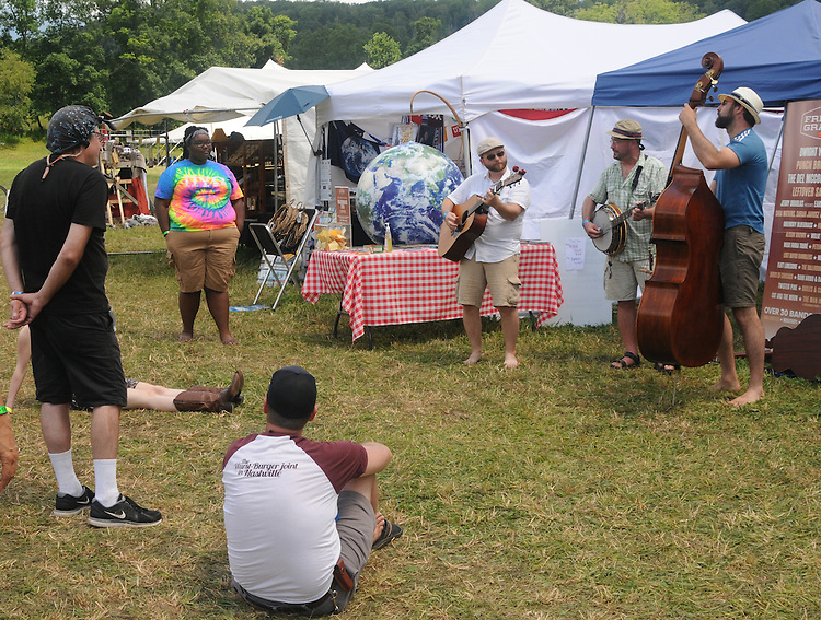 Music being performed along the Midway at the Falcon Ridge Folk Festival, held on Dodd's Farm in Hillsdale, NY on Saturday, August 1, 2015. Photo by Jim Peppler. Copyright Jim Peppler 2015.
