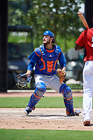 GCL Mets catcher Nelson Mompierre (9) tracks a foul ball during a game against the GCL Nationals on August 4, 2018 at FITTEAM Ballpark of the Palm Beaches in West Palm Beach, Florida.  GCL Nationals defeated GCL Mets 7-4.  (Mike Janes/Four Seam Images)