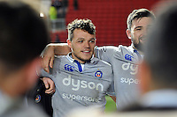 Zach Mercer of Bath Rugby looks on in a post-match huddle. European Rugby Challenge Cup match, between Bristol Rugby and Bath Rugby on January 13, 2017 at Ashton Gate Stadium in Bristol, England. Photo by: Patrick Khachfe / Onside Images