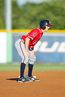 Sean Godfrey (25) of the Danville Braves takes his lead off of second base against the Burlington Royals at Burlington Athletic Park on July 5, 2014 in Burlington, North Carolina.  The Royals defeated the Braves 5-4.  (Brian Westerholt/Four Seam Images)