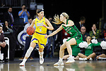 SIOUX FALLS, SD - MARCH 7: Rylie Cascio Jensen #2 of the South Dakota State Jackrabbits drives up the court pass Mikayla Reinke #20 of the North Dakota Fighting Hawks at the 2020 Summit League Basketball Championship in Sioux Falls, SD. (Photo by Richard Carlson/Inertia)