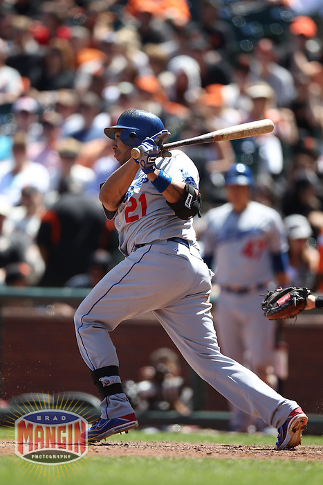 SAN FRANCISCO, CA - JULY 28:  Juan Rivera #21 of the Los Angeles Dodgers bats against the San Francisco Giants during the game at AT&T Park on Saturday, July 28, 2012 in San Francisco, California. Photo by Brad Mangin