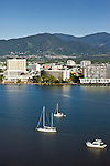 Yachts on Trinity Inlet and city centre.  Cairns, Queensland, Australia