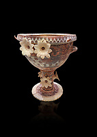 Luxury Minoan Kamares banqueting Ware  krater richly decorated with appiique lilies, Phaistos  1800-1700 BC; Heraklion Archaeological  Museum, black background.<br /> <br /> This style of pottery is named afetr Kamares cave where this style of pottery was first found.