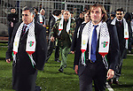 Governor of Hebron Hussein Al Araj (L)and the President of the sports delegation of Chile walking during a friendly game between Hebron Youth Club for junior against Palestino Chilean juniors at Al-Hussein stadium in the West Bank city of Hebron November 03, 2009. Photo by Najeh Hashlamoun