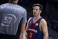 FC Barcelona Lassa Thomas Heurtel talking with the referee during Liga Endesa match between Estudiantes and FC Barcelona Lassa at Wizink Center in Madrid, Spain. October 22, 2017. (ALTERPHOTOS/Borja B.Hojas) /NortePhoto.com