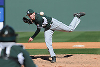 LHP Anthony Misiewicz (18) of the Michigan State Spartans pitches in a game against the Northwestern Wildcats on Sunday, February 17, 2013, at Fluor Field at the West End in Greenville, South Carolina. Michigan State won, 7-4. (Tom Priddy/Four Seam Images)