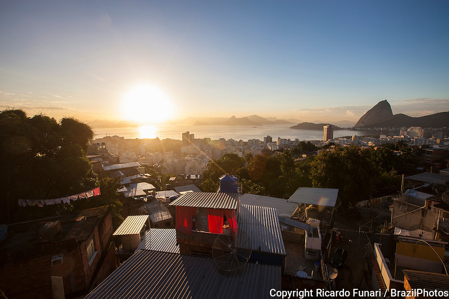 Sugar Loaf and Guanabara Bay seen from top of Tavares Bastos favela in Catete neighborhood,  Rio de Janeiro, Brazil.