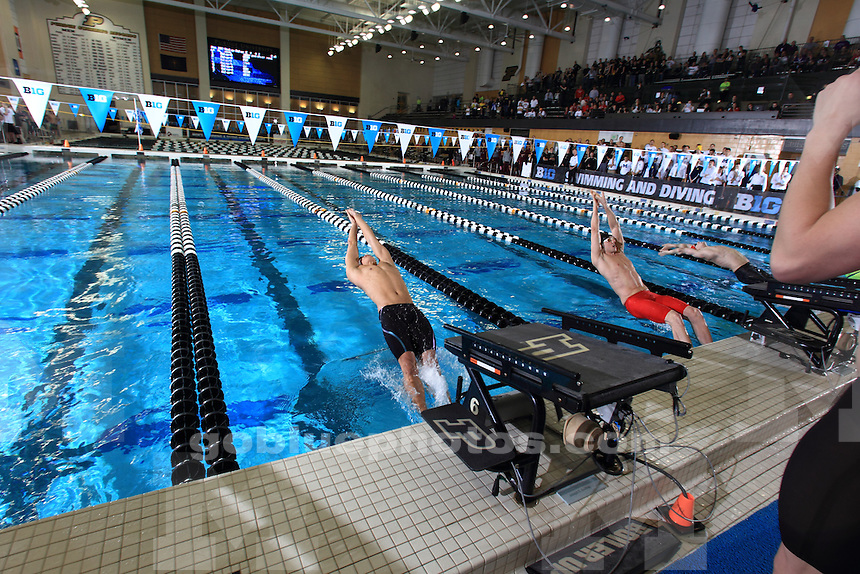 The University of Michigan men's swimming and diving team take two championships home on the first day of the 2016 Big Ten Men's Swimming and Diving Championships. Hosted at Purdue University, West Lafayette, IN. February 24, 2016