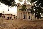 A restored, colonial Spanish church in the town square  Suchitoto, El Salvador