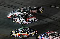 May 4, 2007; Richmond, VA, USA; Nascar Busch Series driver Sam Hornish Jr (12) gets turned sideways by Steve Wallace (66) during the Circuit City 250 at Richmond International Raceway. Mandatory Credit: Mark J. Rebilas