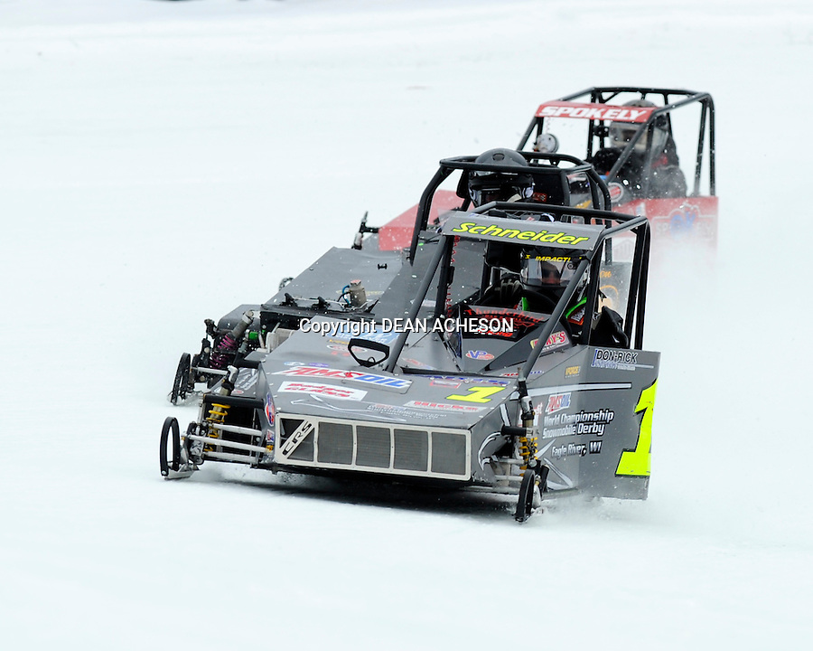 Joe Schneider, Jr. of St. Germain powers his Outlaw 600 Arctic Cat through turn two at the AMSOIL World Championship Snowmobile Derby on Sunday, Jan. 19. He finished fourth that day. This past week he was racing in Alexandria, MN. He is also owner of JD Archery & Paintball Supply in St. Germain.