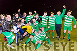 The Killarney Celtic players celebrate after the final whistle is blown for their 2-1 victory over Jamesboro in the FAI cup in Celtic Park Saturday night.