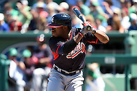 Atlanta Braves outfielder Eric Young Jr. (4) during a Spring Training game against the Boston Red Sox on March 17, 2015 at JetBlue Park at Fenway South in Fort Myers, Florida.  Atlanta defeated Boston 11-3.  (Mike Janes/Four Seam Images)
