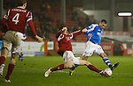 Aberdeen v St Johnstone..22.12.12      SPL.Paddy Cregg is tackled by Scott Vernon.Picture by Graeme Hart..Copyright Perthshire Picture Agency.Tel: 01738 623350  Mobile: 07990 594431