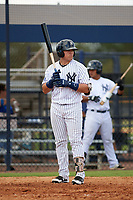 New York Yankees Andres Chaparro (32) at bat during an Instructional League game against the Baltimore Orioles on September 23, 2017 at the Yankees Minor League Complex in Tampa, Florida.  (Mike Janes/Four Seam Images)