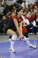 16 December 2006: Stanford Cardinal Cynthia Barboza during Stanford's 30-27, 26-30, 28-30, 27-30 loss against the Nebraska Huskers in the 2006 NCAA Division I Women's Volleyball Final Four Championship match at the Qwest Center in Omaha, NE.