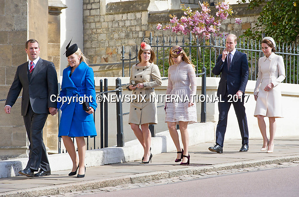 16.04.2017; Windsor,UK: KATE MIDDLETON 1ST ROYAL EASTER SERVICE <br />The Duchess of Cambridge accompanied by Prince William,  joined members of the Royal Family for her first Easter Service at St George&rsquo;s Chapel, Windsor Castle.<br />Royals in attendance included Queen Elizabeth, Prince Philip, Princess Eugenie, Princess Beatrice, Princess Anne, Prince Edward, Countess of Wessex, Peter Phillips, Autumn Phillips, Lady Lousie Windsor and Viscount Severn.<br />Mandatory Photo Credit: &copy;Francis Dias/NEWSPIX INTERNATIONAL<br /><br />IMMEDIATE CONFIRMATION OF USAGE REQUIRED:<br />Newspix International, 31 Chinnery Hill, Bishop's Stortford, ENGLAND CM23 3PS<br />Tel:+441279 324672  ; Fax: +441279656877<br />Mobile:  07775681153<br />e-mail: info@newspixinternational.co.uk<br />Usage Implies Acceptance of OUr Terms &amp; Conditions<br />Please refer to usage terms. All Fees Payable To Newspix International