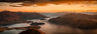 Sunrise over Lake Wanaka as seen from Roy Peaks 1578m, Central Otago, New Zealand, NZ