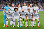 Real Madrid's Kiko Casilla Sergio Ramos Toni Kroos Raphael Varane Karim Benzema Cristiano Ronaldo Garet Bale Marcelo Vieira Daniel Carvajal Carlos Henrique Casemiro Luka Modric during the match of Champions League group 6 round 1, between Real Madrid an Sporting Clube de Portugal at Santiago Bernabeu Stadium in Madrid September 14, 2016. (ALTERPHOTOS/Rodrigo Jimenez)