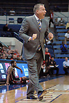 February 14, 2015 - Colorado Springs, Colorado, U.S. -  Air Force head coach, Dave Pilipovich, calls instructions to his Falcons during an NCAA basketball game between the UNLV Runnin' Rebels and the Air Force Academy Falcons at Clune Arena, U.S. Air Force Academy, Colorado Springs, Colorado.  Air Force defeats UNLV 76-75.