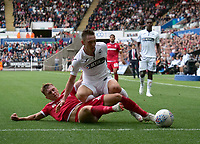 Nottingham Forest's Ben Osborn battles with Swansea City's Connor Roberts<br /> <br /> Photographer Ian Cook/CameraSport<br /> <br /> The EFL Sky Bet Championship - Swansea City v Nottingham Forest - Saturday 15th September 2018 - Liberty Stadium - Swansea<br /> <br /> World Copyright &copy; 2018 CameraSport. All rights reserved. 43 Linden Ave. Countesthorpe. Leicester. England. LE8 5PG - Tel: +44 (0) 116 277 4147 - admin@camerasport.com - www.camerasport.com