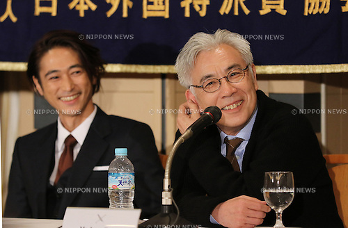 """January 12, 2017, Tokyo, Japan - Japanese cast of the U.S. movie """"Silence"""" Issey Ogata (R) speaks before foreign journalists wile Yosuke Kubozuka looks on in Tokyo on Thursday, January 12, 2017. The movie """"Silence"""", written by Japanese author Shusaku Endo and directed by Martin Scorsese of the United States, will be screening in Japan from January 21.   (Photo by Yoshio Tsunoda/AFLO) LWX -ytd-"""