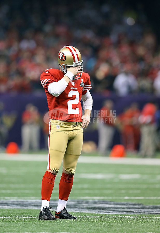 Feb 3, 2013; New Orleans, LA, USA; San Francisco 49ers kicker David Akers (2) reacts against the Baltimore Ravens in Super Bowl XLVII at the Mercedes-Benz Superdome. Mandatory Credit: Mark J. Rebilas-